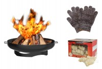 Feuerschale inkl. Anzündwolle & Handschuhe Feuerkorb Feuerstelle Gartenfeuer