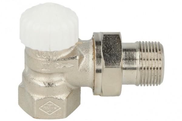 "Heimeier Thermostatventil 1/2"" V-exact II Eck Rotguss vernickelt DN 15"