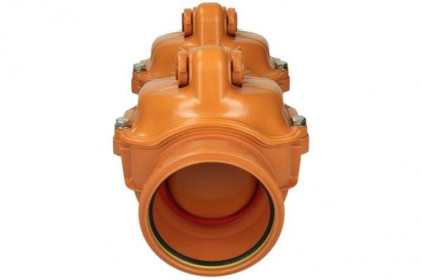 Airfit Doppelrückstauverschluss DN 110 mit Handverschluss,490mm,Nr. 59110DRK