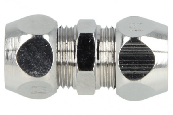 Gerade-Doppel-Quetschverschraubung 10 x 10 mm, verchromt