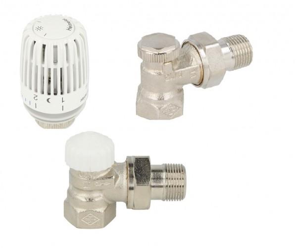 Heimeier Set Thermostatventil,Thermostatkopf ,Rücklaufverschraubung DN15 Eck