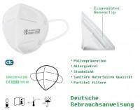 FFP2 Maske 5-lagig weiß Mundschutz Atemschutzmaske Gesichtsschutz Masken CE 0598