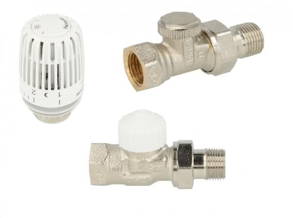 Heimeier Set Thermostatventil,Thermostatkopf,Rücklaufverschraubung DN15 Durchgang
