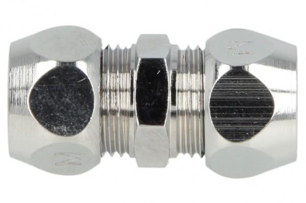 Gerade-Doppel-Quetschverschraubung reduziert, 10 x 8 mm verchromt